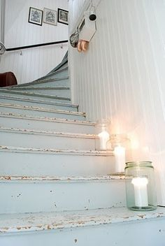 white-chippy-painted stairs