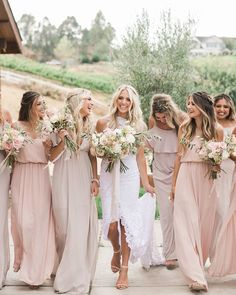 Blush bridesmaid dresses are very popular lately. It flattens any skin tone and is a soft, romantic hue, that won't take the attention away from the bride. Mismatched Bridesmaid Dresses, Wedding Bridesmaid Dresses, Wedding Gowns, Blush Pink Bridesmaids, Bridesmaid Inspiration, Dresses Short, Dresses Dresses, Grace Loves Lace, Wedding Colors