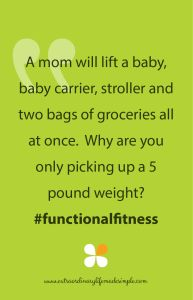 A Woman will lift a baby, baby carrier, stroller and two bags of groceries all at once...