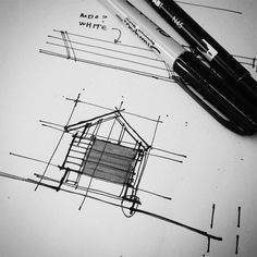 Sketch Drawing Movie Theater Concept Sketch from Bob Borson - Every year I design a playhouse for charity – and every year I publish the construction drawings for that playhouse. Take a look at what construction drawings look like for a small structure … Architecture Drawing Sketchbooks, Architecture Concept Drawings, Art And Architecture, Pop Design, Sketch Design, Design Concepts, Design Design, Graphic Design, Presentation Pictures