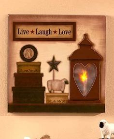 Lighted Country Wall #Art - LIVE, LAUGH, LOVE Shop here --> http://www.sparklyexpressions.com/#1242