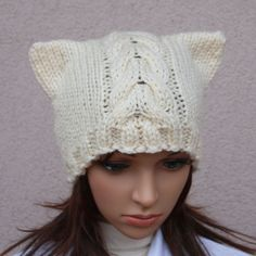 Cat hat. Ladies beanie ''Ecru Cat'' Hand knitted by WoolyThinker, $28.00