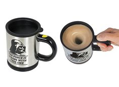 Mix your drink with the Force or just press the button on the handle to stir your coffee!