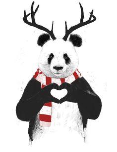 Xmas panda Art Print by Balazs Solti | Society6