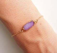 Drusy Bracelet in Purple Pink OOAK by 443Jewelry on Etsy, $65.00