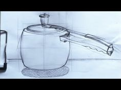 Drawing of a Pressure Cooker using guidelines Fan Drawing, Chair Drawing, Diwali Colours, Drum Cover, Shabby Chic Table And Chairs, Wooden Stools, Step By Step Drawing, Design Tutorials, Artist At Work