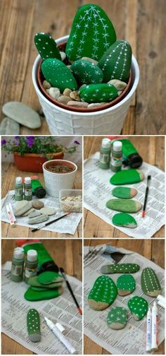 DIY Painted Rock Cactus Tutorials: Paint Rock Cactus, Faux Cactus in flower pot for garden or home decor with painting, no water, no maintenance.DIY fácil y decorativo: Cactus que no se marchitanYou will love to learn how to make a Painted Cactus Cactus Painting, Cactus Art, Diy Painting, Cactus Flower, Cactus Plants, Indoor Cactus, Succulent Planters, Succulent Arrangements, Hanging Planters
