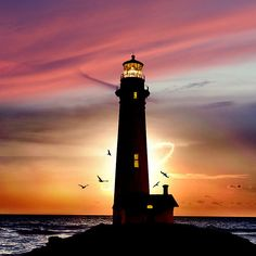 'Pacific Sunset' Photographic Print by Carlos Casamayor Pacific+Sunset You are in the right place about Architecture drawing beginner step by step … - Moyiki Sites Landscape Wallpaper, Watercolor Landscape, Lighthouse Painting, Lighthouse Gifts, Lighthouse Pictures, Architecture Drawings, Pastel Art, Nature Photography, Beautiful Pictures