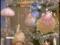 Martha Stewart and guest Hannah Milman make glittered sea shell Christmas tree ornaments.