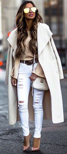 #winter #outfits beige sweater, white ripped jeans, heels, long beige coat