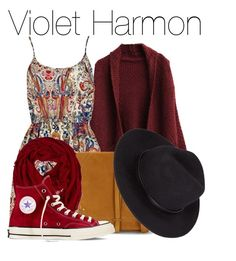 """""""Violet Harmon - American Horror Story:Murder House"""" by the-wonders-fashion ❤ liked on Polyvore featuring Jérôme Dreyfuss, Converse, americanhorrorstory, ahs, violetharmon and murderhouse"""