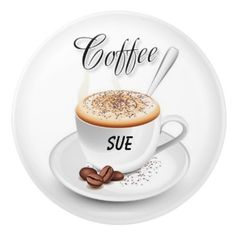 Custom Name Coffee-Inspired Ceramic Knobs by Siberianmom of Zazzle.com