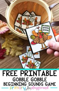 A Beginning Sounds Game - Primary Playground Your little learners will have so much fun practicing their beginning sounds with this Gobble Gobble! Thanksgiving Preschool, Fall Preschool, Kindergarten Classroom, Kindergarten Activities, Thanksgiving Letter, Classroom Ideas, Kindergarten Freebies, Thanksgiving Games, Preschool Ideas
