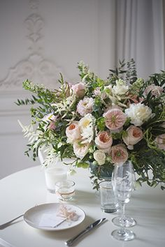 Peach and cream floral centrepiece perfect for a garden wedding - Parisian Floral Inspiration Shoot from Meadow Flowers & Styling