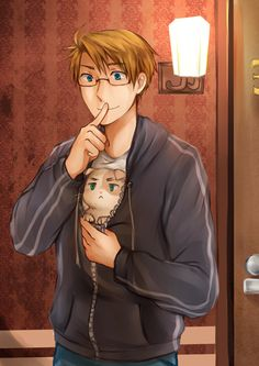 Alfred with Neko!England. The artist says that the cat's a stray he's trying to sneak into his apartment - cute :D - Art by chimelon.tumblr.com