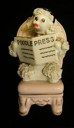 Vintage White Spaghetti Poodle in Pink Chair Reading The Poodle Newspaper | eBay
