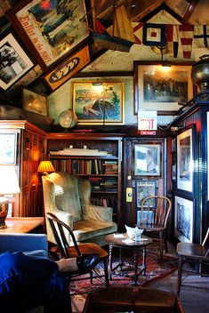 The Boat House - a bar in Lambertville NJ. Great decorated vaulted ceiling, woods, cozy nook.
