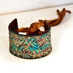 Turquoise Jewelry Cuff Bracelet Gift for Mom OOAK by rainwheel, $50.00