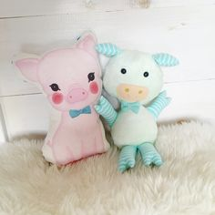 """Large Mint Plush 14"""" Prince the Pig with bow tie - Live Sweet Shop"""