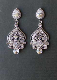 Vintage Chandelier Wedding Earrings Crystal Bridal by JamJewels1, $59.00