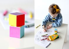 Toddler Coloring Dice... great for teaching kids their colors while they color. // Delia Creates