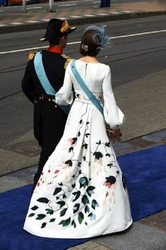 Crown Prince Frederik and Crown Princess Mary of Denmark's gown details during the Abdication and investiture in the Netherlands on April 30, 2013 in Amsterdam