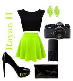 """""""Neon green!!!"""" by rayanharisha on Polyvore featuring LE3NO, Alice + Olivia, Tità Bijoux, NARS Cosmetics, Sergio Rossi and Nikon"""