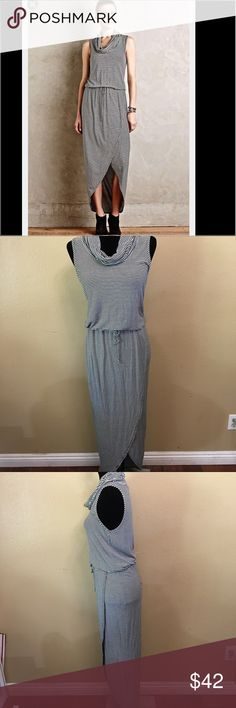 """Anthropologie Dolan Left Coast Maxi Dress Name Brand: Anthropologie Dolan Left Coast Collection black white stripe stretch Cowlneck Midi Maxi Dress S  Condition: Pre-Owned  Size: S  (see measurements)  Color: White & Black   Style: Midi Maxi Dress  Material: 94% Rayon 6% Spandex Always check the measurements, label sizes are not consistent. Measurements are approximate, and are of item laying flat and unstreched: Shoulder to Shoulder: Bust: 16"""" Sleeve: """" Waist: 14"""" Length: 56"""" (front, back…"""