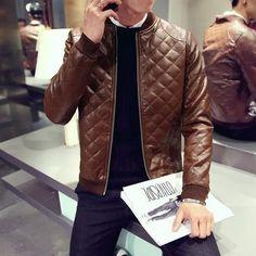 Leather Clothing Mens Jacket Coat Fall Winter Biker Bomber male Jacket