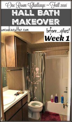 Hall Bath Makeover - One Room Challenge - Fall 2016 - UncookieCutter.com