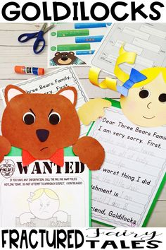 Fun crafts crafts enhance any unit on Goldilocks and the Three Bears, character traits, points of view and sequencing story events with a variety of writing activities.  Engaging hands on fun for an amazing bulletin board! Writing Activities, Craft Activities, Fractured Fairy Tales, Goldilocks And The Three Bears, Bear Crafts, Character Trait, Three Little Pigs, Elementary Teacher, Red Riding Hood