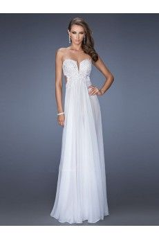 A-line Sweetheart Sleeveless Chiffon Prom Dresses/Evening Dresses With Lace #BK063