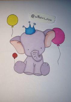 Elefant tegnet med letraset promaker tusjer. Gratulerer med dagen!