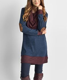 Look at this Dark Blue Elbow Patch Cowl Neck Tunic on #zulily today!