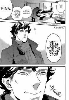 "It's a manga version of Sherlock ""A Study in Pink."" Everyone must read it.<<<guys just look at that precious smile Sherlock Bbc, Sherlock Fandom, Sherlock Cartoon, Sherlock Anime, Johnlock, Martin Freeman, Benedict Cumberbatch, A Study In Pink, Sherlolly"