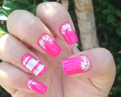 Pink neon and silver nails