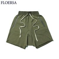 FLOERSA 2017 Summer Casual Beach Shorts Men Zipper Pocket Cotton Loose Men's Shorts Pantalon Corto Hombre #C53025