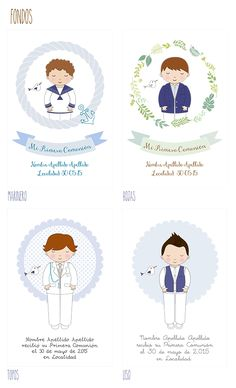 Recordatorios de Primera Comunión Personalizados Tartas y Nubes de Azúcar Boys First Communion, Baptism Decorations, First Communion Invitations, Printable Paper, Crafty Craft, Cute Illustration, Doll Patterns, Card Making, Stationery