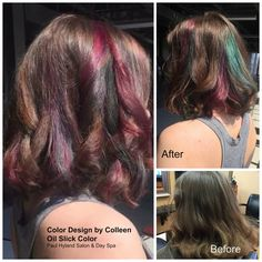 """Colleen lightened up her client's hair with highlights and then added fun colors to achieve the """"Oil Slick Color"""" effect.    Paul Hyland Salon and Day Spa"""