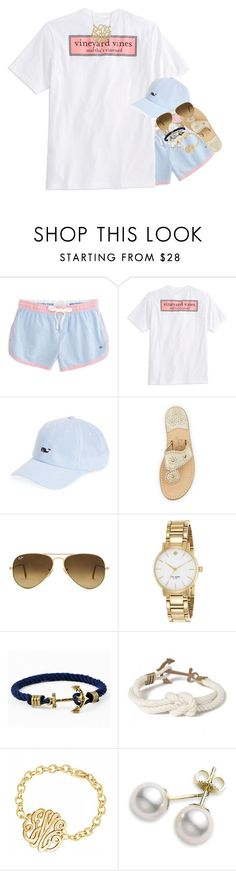 """""""why aren't my drafts saving"""" by kate-elizabethh ❤ liked on Polyvore featuring Southern Tide, Vineyard Vines, Jack Rogers, Ray-Ban, Kate Spade, Kiel James Patrick and Mikimoto"""