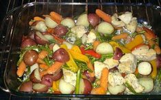 One Pan Healthy Chicken Bake Ingredients : Skinless chicken breasts chopped into 2 inch cubes cup chicken broth 1 lb . Healthy Chicken, Baked Chicken, Fruit Salad, Potato Salad, Sausage, Yummy Food, Baking, Ethnic Recipes, Casseroles