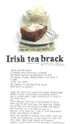 "Irish Tea Brack ! ... Add a good shot of Irish ( or Scotch ) whiskey to the mix when soaking the fruit ! ..... Now we're ""sucking diesel "" !!!"