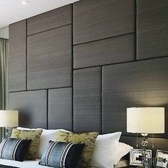 Upholstered acoustic wall panels and tall headboard solutions. Offering a popular variety of modern, transitional and traditional upholstered wall panels. Order matching bed frame in any size. Padded Wall Panels, Upholstered Wall Panels, Tall Headboard, Headboards For Beds, Fabric Wall Panel, Bedroom Wall Panels, Headboard Ideas, Fabric Walls, Wall Panel Design