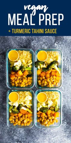 This vegan roasted vegetable meal prep has a tangy turmeric tahini sauce for you to drizzle over everything! via This vegan roasted vegetable meal prep has a tangy turmeric tahini sauce for you to drizzle over everything! Veggie Meal Prep, Vegetarian Meal Prep, Lunch Meal Prep, Meal Prep Bowls, Easy Meal Prep, Healthy Meal Prep, Vegetarian Recipes, Healthy Recipes, Vegetarian Grilling