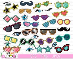 Cartoon Glasses, Eye Glasses, Vector Graphics, Art Images, Clip Art, Kids Rugs, Scrapbook, Digital, Wallpaper