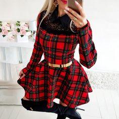 High Neckline Dress, Plaid Decor, Trend Fashion, Ladies Fashion, Fashion Outfits, Plaid Dress, Dress Casual, Plaid Christmas, Long Sleeve Mini Dress