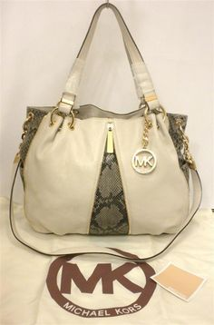 4b5e883f46d8 Michael Kors Newman LG White Leather Convertible Shoulder Tote Sand Python  | eBay