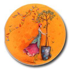 BOISSONNARD L'arbre et la guirlande Happy Paintings, Beautiful Paintings, Ceramic Painting, Fabric Painting, Illustrator, Watercolor Flowers Tutorial, Pottery Painting Designs, Art Carte, Pretty Drawings