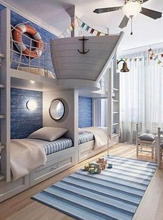 Rustic Italian Decor Bedroom: Nautical Room Design Ideas For Your Kid Cool Kids Rooms, Room Kids, Room For Two Kids, Cool Boys Room, Creative Kids Rooms, Bunk Rooms, Awesome Bedrooms, Coolest Bedrooms, Dream Rooms