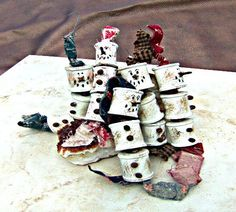 Christmas Ornament Primitive Spool Snowman Ornament, Direct Checkout, Ready to Ship